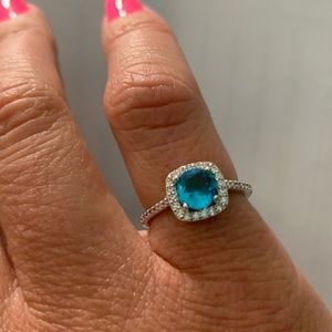 Blue and White CZ Ring in Silvertone